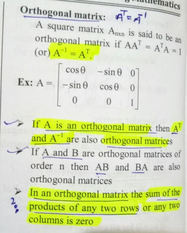 Engineering Maths: Orthogonal Matrix - GATE Overflow