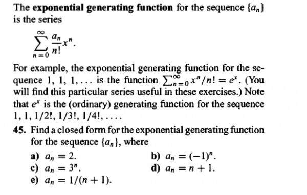 Discrete maths] Exponent generating function - GATE Overflow