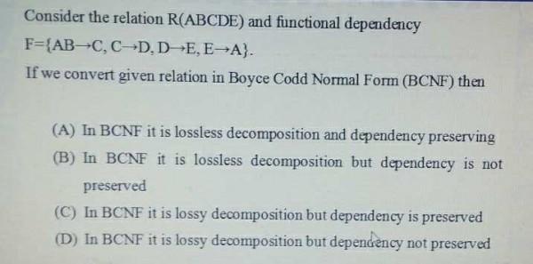 Bcnf Decomposition Gate Overflow
