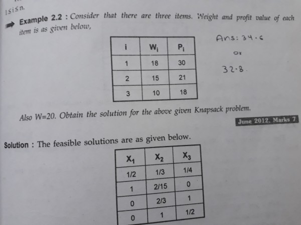 knapsack problem what is answer to this anyone ?? - GATE