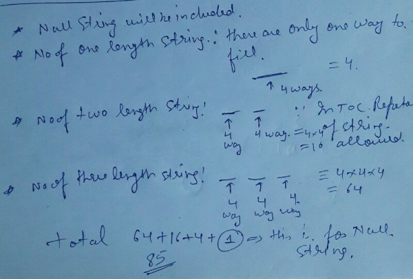 number of strings upto length 3 on alphabet set =(a,b,c,d ...
